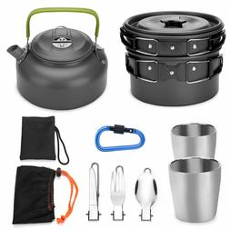 Odoland 10pcs Camping Cookware Mess Kit, with 2 Cups, Fork K