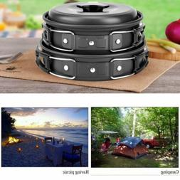 10PCS Outdoor Camping Hiking Cookware Mess Kit with Gas Stov