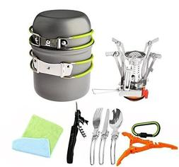 Bisgear 12/16 Pcs Camping Cookware Stove Carabiner Canister