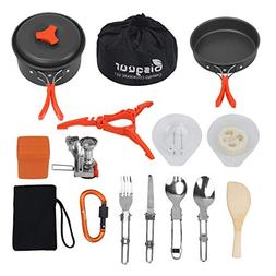 Bisgear 12-17Pcs Camping Cookware Stove Carabiner Canister S