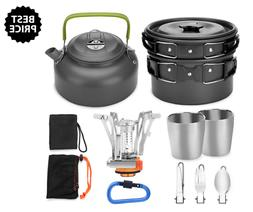 Odoland 12pcs Camping Cookware Mess Kit W Mini Stove Lightwe