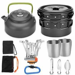 Odoland 12pcs Camping Cookware Mess Kit w/ Mini Stove,Lightw