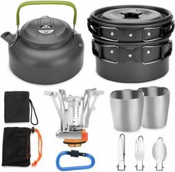Odoland 12pcs Camping Cookware Mess Kit with Mini Stove,  Fo