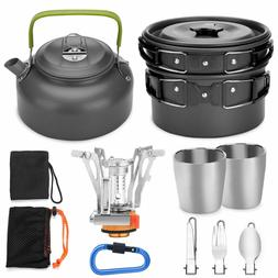 12pcs Camping Cookware Mess Kit with Mini Stove, Lightweight