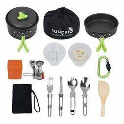 Bisgear 16 Pcs Camping Cookware Stove Carabiner Bug Out Bag