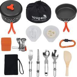 16 Pcs Camping Cookware Stove Carabiner Folding Spork Set Ou