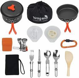 Bisgear 16 Pcs Camping Cookware Stove Carabiner Folding Spor