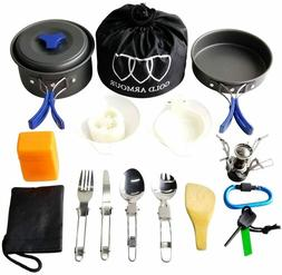 17 Piece Camping Cookware Set- Stove, Pan, Bowls, Utensils