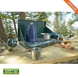 2-Burner Stove Camping Adjustable Power Wind Baffles Easy Cl