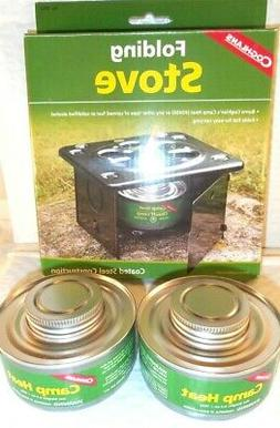 2 FOLDING EMERGENCY STOVE W 2 CANS STERNO TYPE FUEL CAMP HEA
