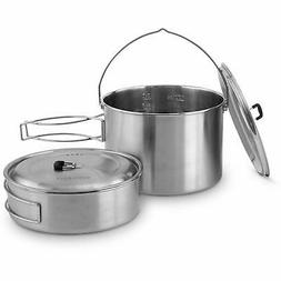 Solo Stove 2 Pot Set: Stainless Steel Companion Pot Set Camp