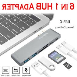 6 in 1 Type-C USB-C Hub Adapter Dual USB 3.0 Port Thunderbol