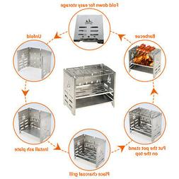 Backpacking Wood Burning Camp Stove & Barbecue Grill for Pic
