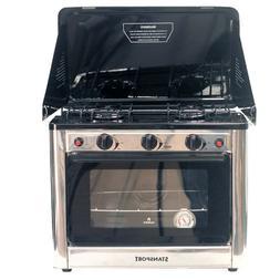 BBQ Kitchen Range Oven Stove Propane Gas 2 Burners Rack Camp