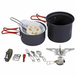 Camping Cookware Mess Kit with Stove Ultralight Foldable Bac