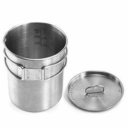 Lixada Camping Cookware Set Titanium Stove Pot Pan Frypan Bo
