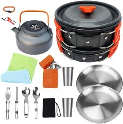 Bisgear Camping Cookware Stove Set, Hiking Backpacking Non-S