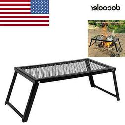 Camping Grill Adjustable Camp Fire Cooking Grate Outdoor BBQ