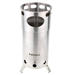 Lixada Camping Picnic Wood Stove Portable Stainless Steel fo