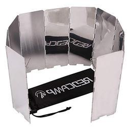 REDCAMP Folding Outdoor Stove Windscreen, 10 Plates Aluminum