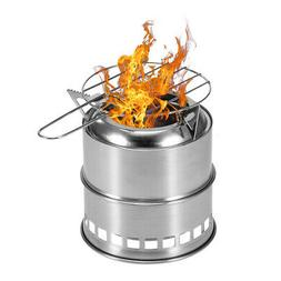 Camping Stove Wood Burning Stove with Alcohol Tray & Grill N