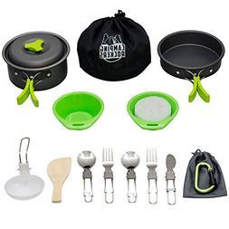 CampingRockers 15PCs Camping Cookware Mess Kit - Durable Pot
