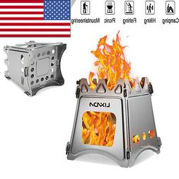 Compact Folding Titanium Wood Stove for Outdoor Camping Cook