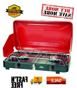 Compact Propane Stove Dual Burner, Burners provide up to 10,