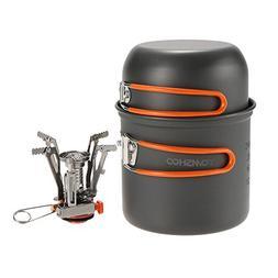 TOMSHOO Camping Stove, Mini Gas Stove with Camping Pan Pot f