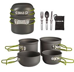 Wealers Cookware 7 Pieces Kit Cookset Backpacking Gear & Hik