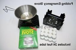 Emergency Stove & 24 Fuel Tabs Camping Survival Backpacking
