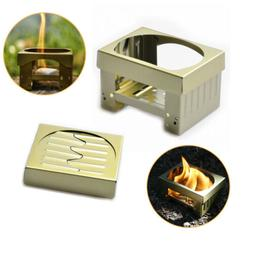 Folding Camping Pocket Stove Portable /w Solid Fuel Wax for