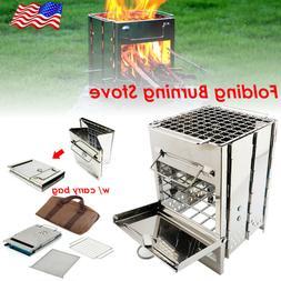 Folding Wood Burning Stove BBQ Grill w Carry Bag Mini Camp S