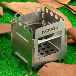 Folding Wood Pocket Stove Outdoor Camping Cooking Picnic Bac