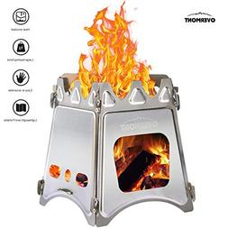 Overmont Camping Stove Portable Folding Wood Stove Stainless
