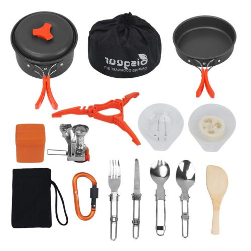 12 17pcs camping cookware stove carabiner canister