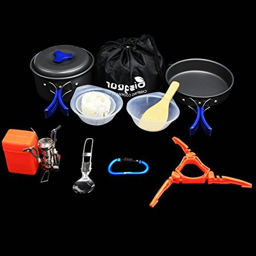 Cookware Carabiner Stand Set Backpacking Non-Stick Knife Spoon