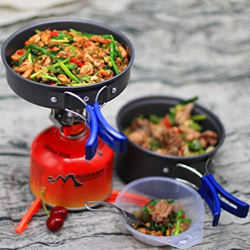 Bisgear Pcs Cookware Canister Stand Tripod Folding Set Camping Backpacking Non-Stick Cooking Knife Spoon