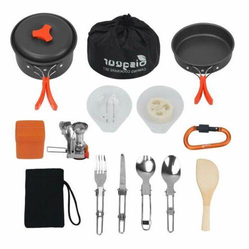 16 pcs camping cookware stove carabiner bug