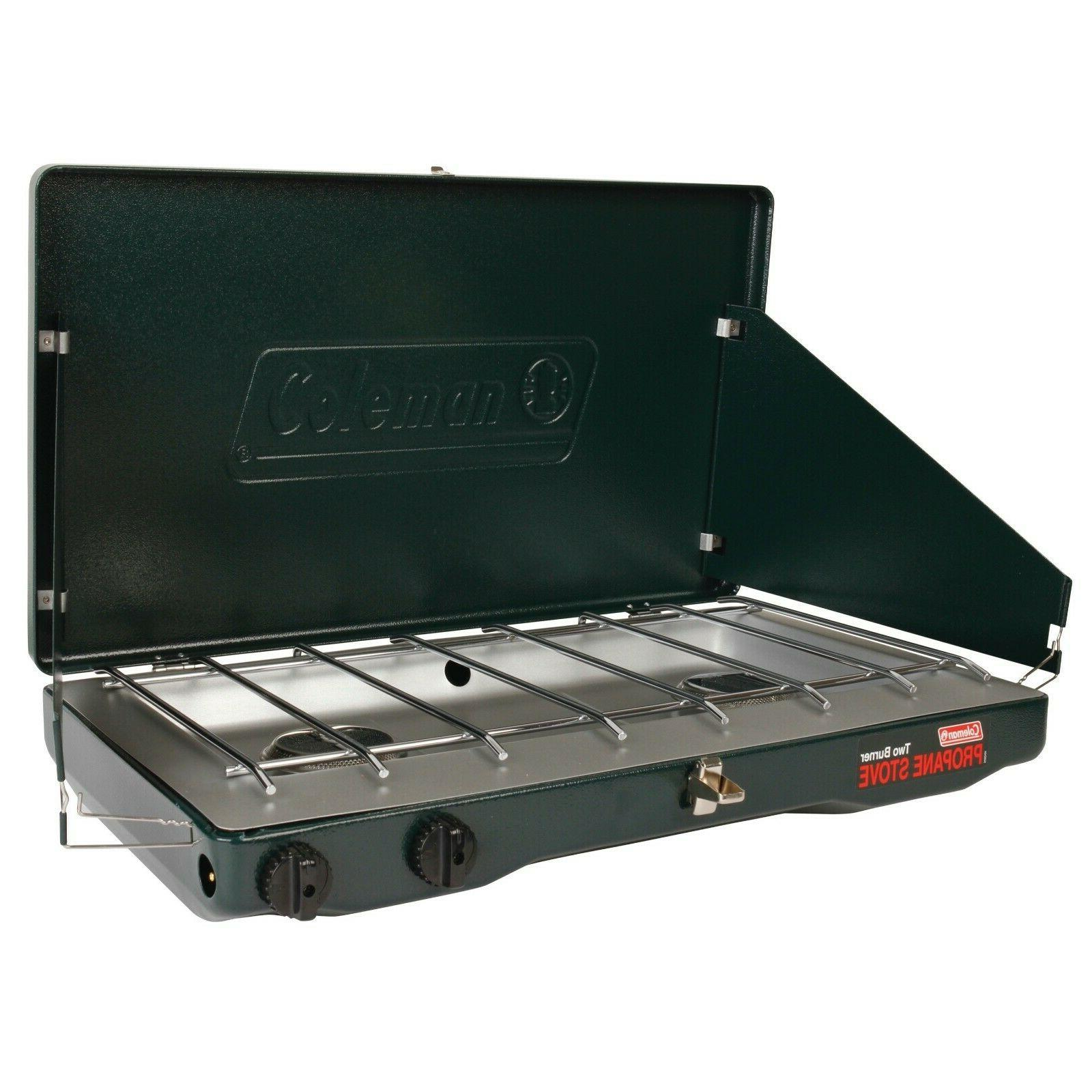 Coleman Gas Camping Stove Classic Propane with 2 Burner Wind