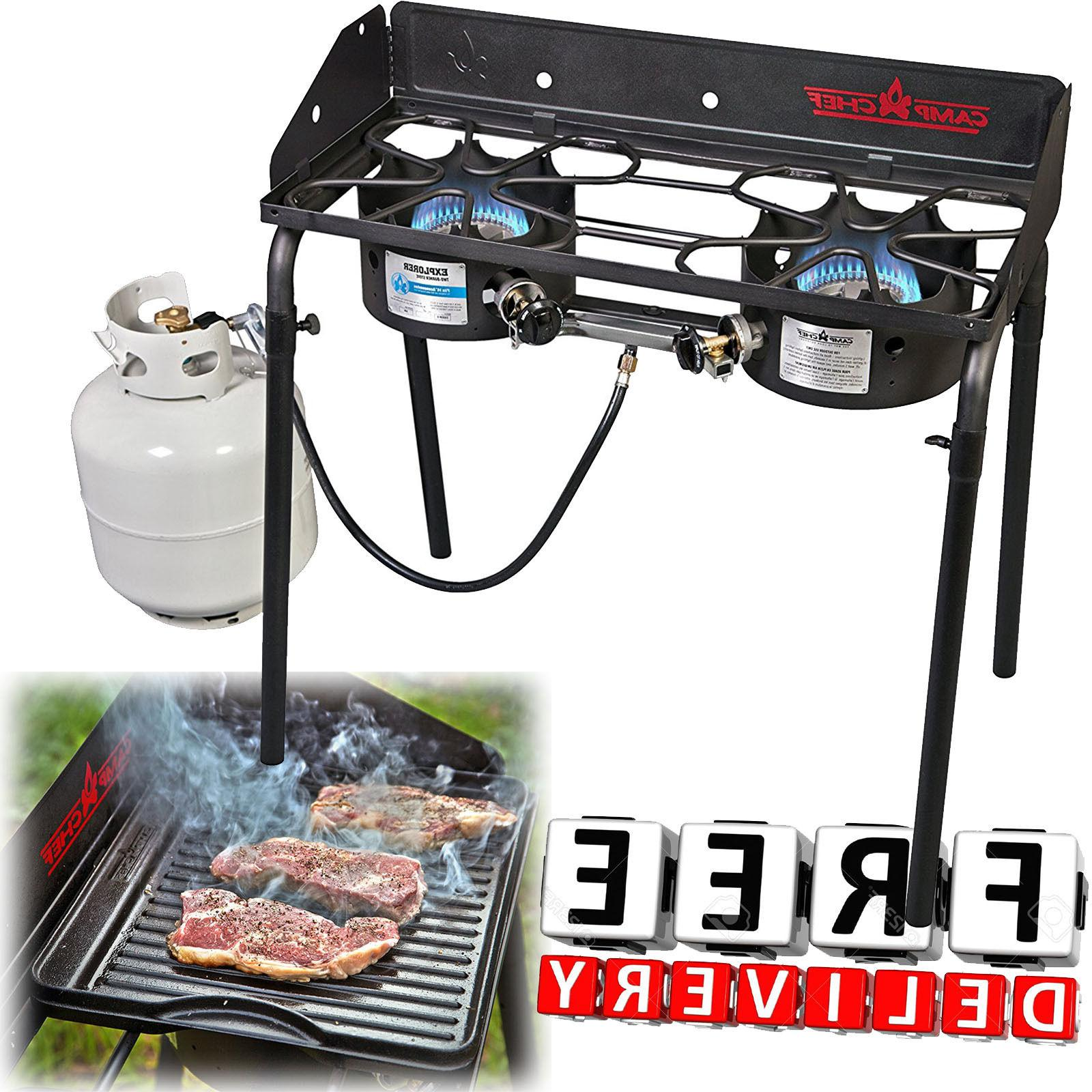 2 burner propane stove camping camp portable