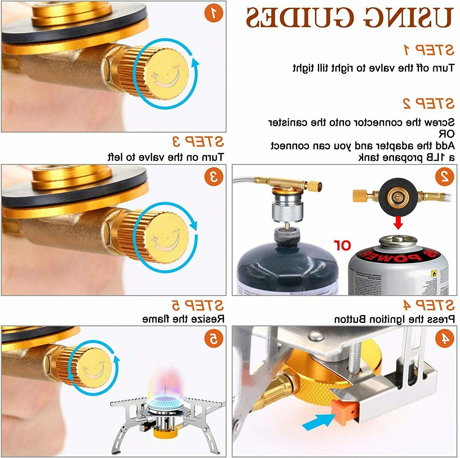 3700W Portable Gas Stove with Piezo Ignition, Burner,