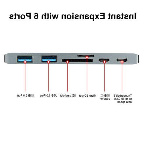 6 USB-C Hub USB 3.0 3 for Pro