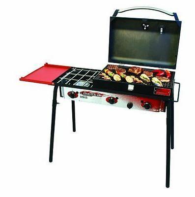 big gas 3 burner grill black red