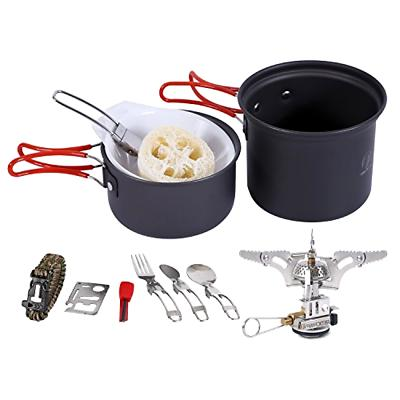 REDCAMP Camping Cookware Mess Kit with Stove,800ml for 1 Per