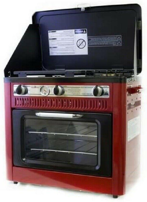 camping oven with griddle red rare color