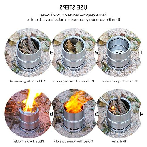 CANWAY Stove, Stove/Backpacking Stainless Wood Stove with Nylon Outdoor Picnic
