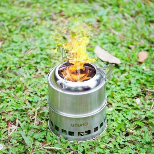 Ohuhu Camping Stove Stainless Steel Backpacking Wood Burning Stoves...