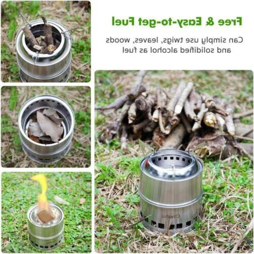 Ohuhu Camping Stove Stainless Steel Backpacking Potable Burning