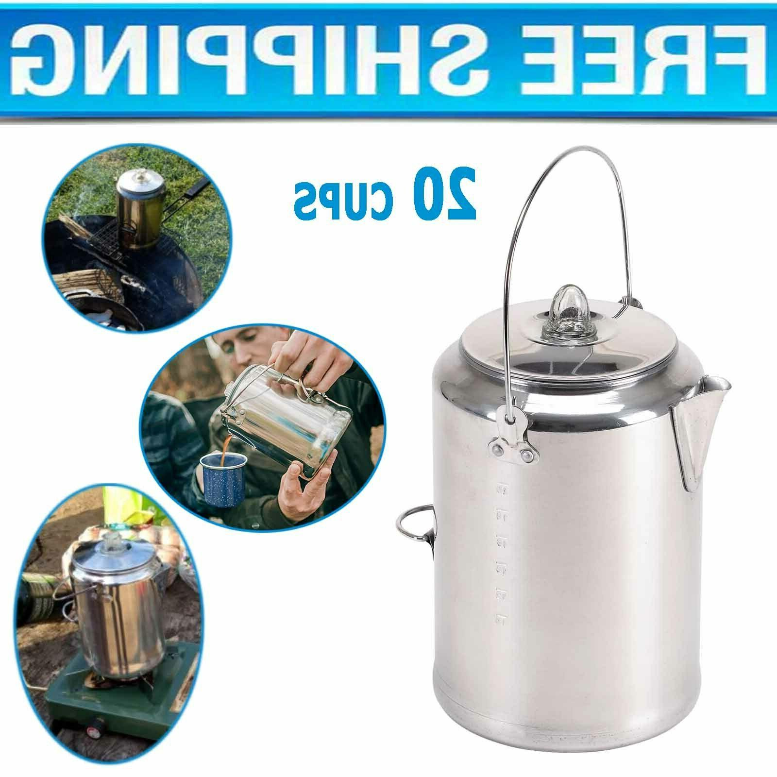 Coffee Pot Camping Percolator Stove Top Outdoor Aluminum Mak
